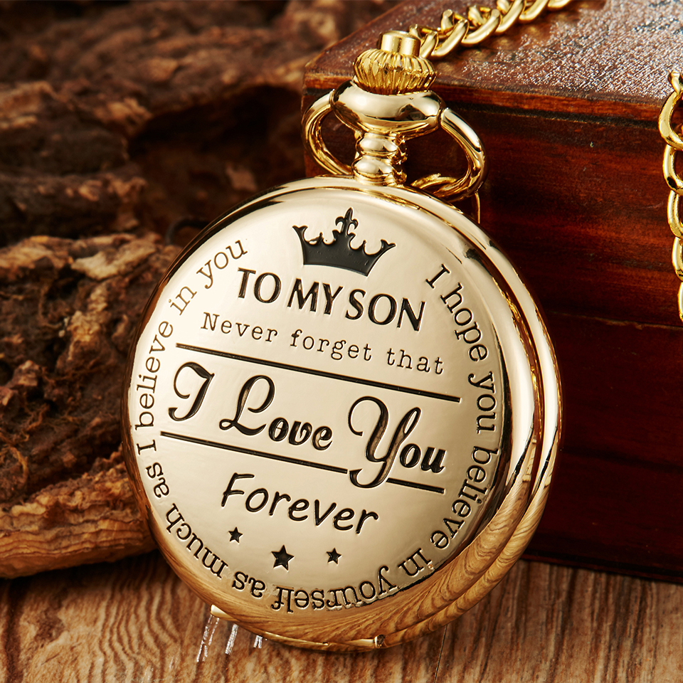 Pocket Watch TO MY SON I LOVE YOU Laser Engraved Quartz Flip Clock For Boy's Children's Fob Chain Clock Kids Best Gifts For Son