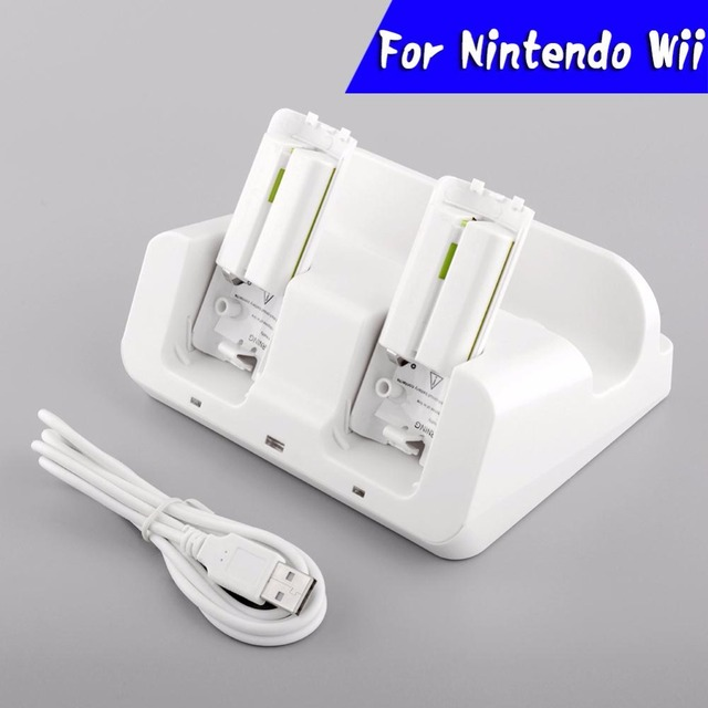3 in 1 Charger Charging Dock Station Docking White + 2 Battery Case For Wii U Gamepad Joypad Controller