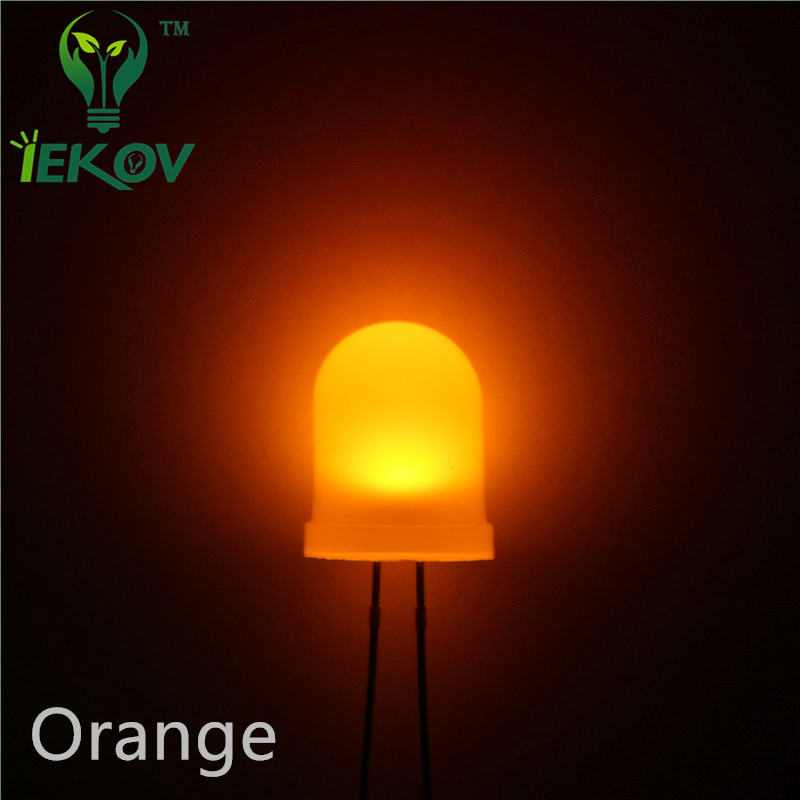 LED 20pcs 10mm Diffused LED DIODE Orange/AMBER 10MM Round Top Emitting Diodes Ultra Bright LED Lamp Light Bulb Electronic
