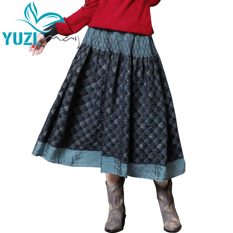 Women Skirt 2018 Yuzi may Boho New Cotton Polyester Skirts Elastic Waist Vintage Pleated Long Green