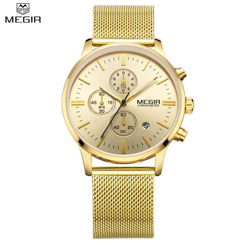 Prix pour Megir top marque de luxe montre hommes d'affaires robe chronographe montres reloj hombre horloge hommes en acier inoxydable maille relogio saat