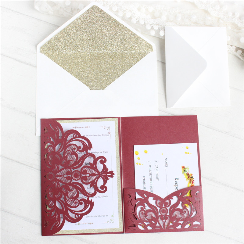 Custom cards invitations with glittery envelop for wedding baptism handmade greeting cards offer inner RSVP printing