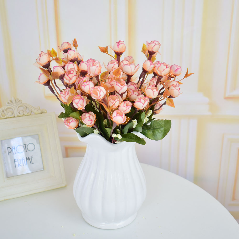 Mini Fake Silk Roses Artificial flowers bouquets for home wedding ...