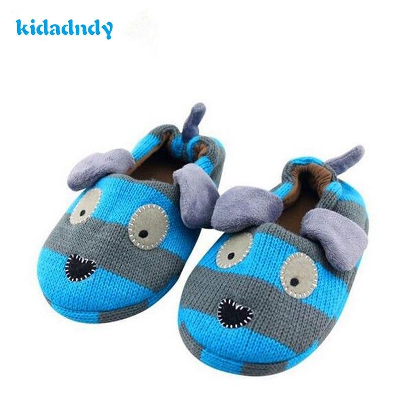 kidadndy Hot Children Slippers Cotton Winter Indoor ShoesDog Rubber SoleAnti-Skid 3-8 Years Blue Boy'S Home boots TCCS6076