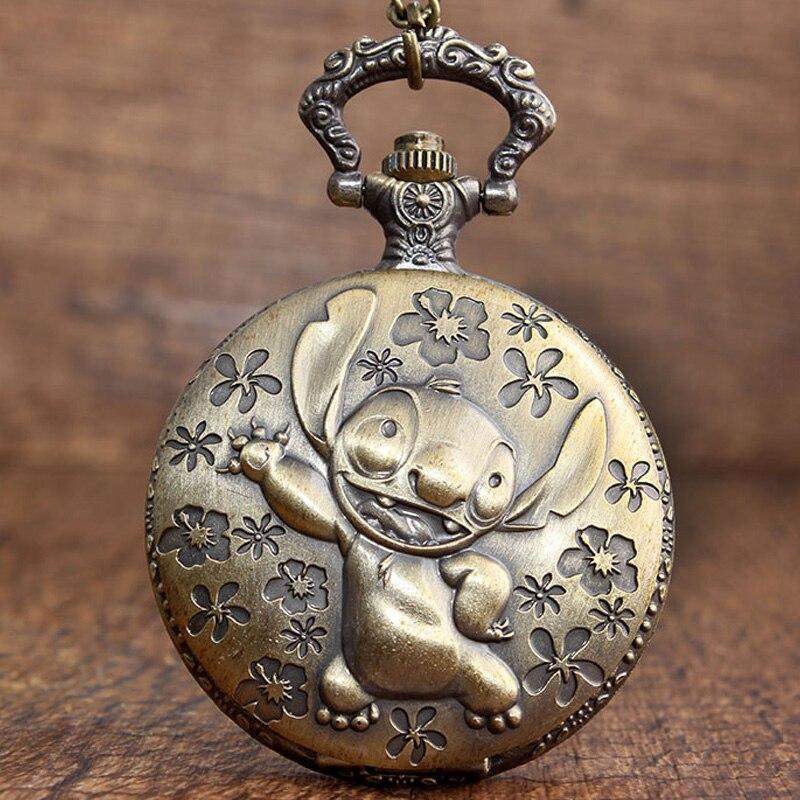 Antique Movie Lilo & Stitch Pocket Watch Necklace Vintage Cute Koala Quartz Fob Chain Watch Flip Clock Pendant Children Gift