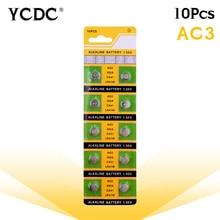 Дешевые lr41 Батарея 10x LR41 AG3 392A SR41SW 384 LR736 V3GA 192 1,55 в солнечных батарей Батарея часы Кнопка монета ворс pilas boton