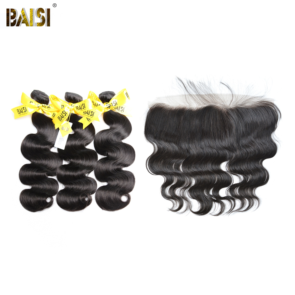 BAISI Hair, 100% Unprocessed Human Hair Peruvian Virgin Body Wave 4Pcs/Lot, 3 Bundles and 13x4 Frontal, #1B, Free Shipping
