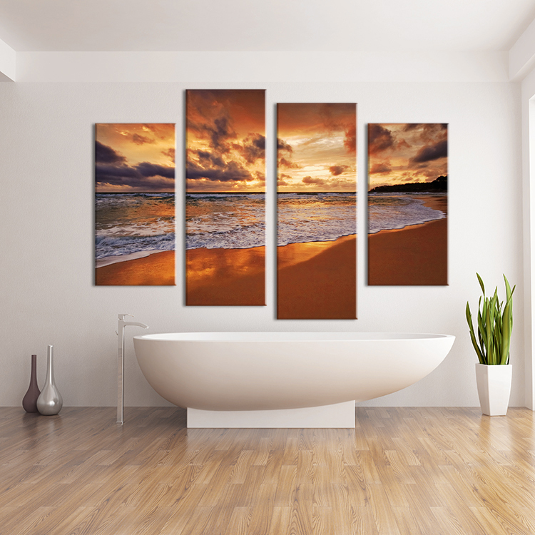 4 Panel Beach Sundown Feng Shui Wall Art Wall Painting Print On Canvas For Home Decor