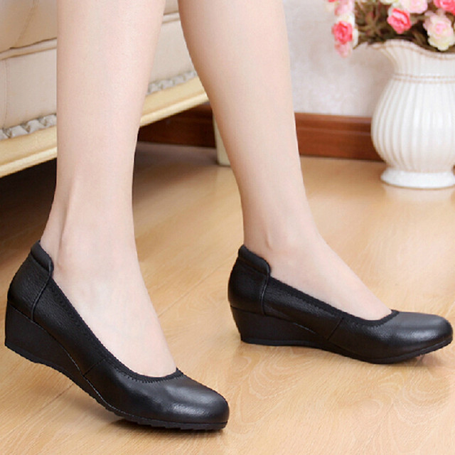 Handmade comfortable soft outsole genuine leather casual shoes women's black leather wedges work shoes