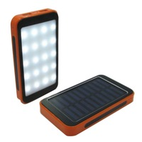 20000mAh Solar Portable External Power Bank With 20LED Light Panel Power Bank Dustproof Dual USB Charger