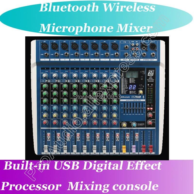 MICWL ZDR800 Misturadores Estúdio Console de Mixagem Ao Vivo Do Bluetooth Microfone Sem Fio Bluetooth 24-Bit Processador de Efeitos Digitais