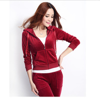 1 Set Women S Velvet Tracksuit Hoodie And Pants Zip Pockets Lady Sporting Female Large Suit