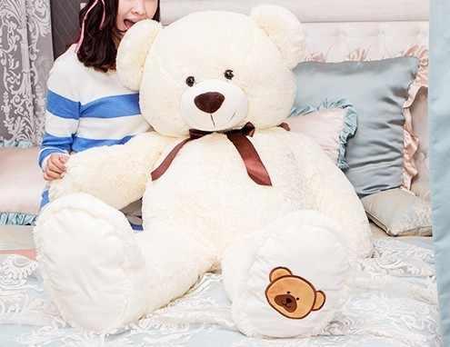 """גדול דוב יפה קשת חמודה צעצוע הקטיפה צעצוע ממולא דובון מתנת יום הולדת כ 100 ס""""מ לבן בז'"""