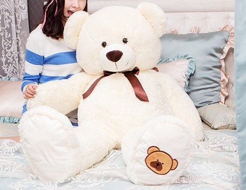 купить big lovely bear toy plush toy cute bow stuffed teddy bear birthday gift about 100cm white beige недорого