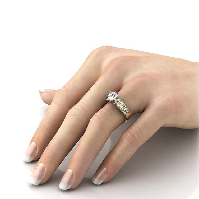 2CT Round Cut Moissanite Diamond 14K Yellow Gold Ring