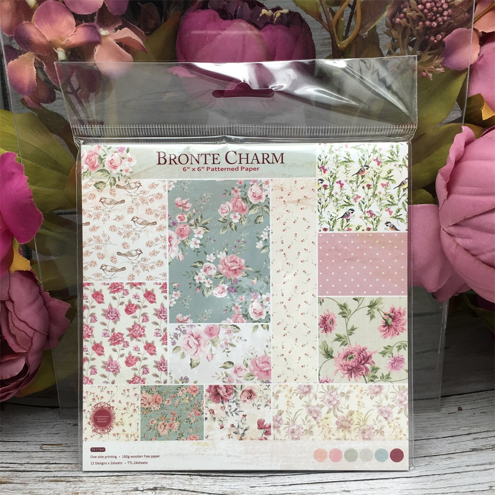 24pcs/Pack 6*6inch 15.2cm Bronte Charm Patterned Paper Pack For Scrapbooking DIY Happy Planner Card Making Journal Project
