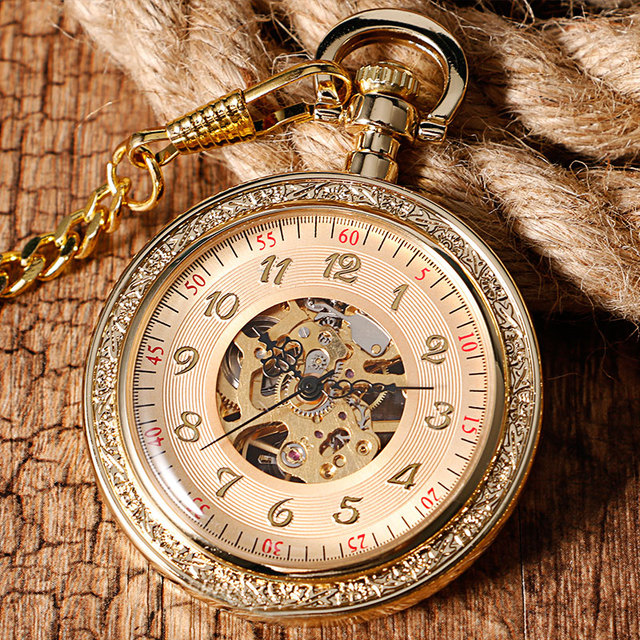 Full Gold Luxury Mechanical Pocket & Fob Watches Pendant Retro Fashion Engraving Wind Up Hand Winding Men Women Chain Xmas Gifts