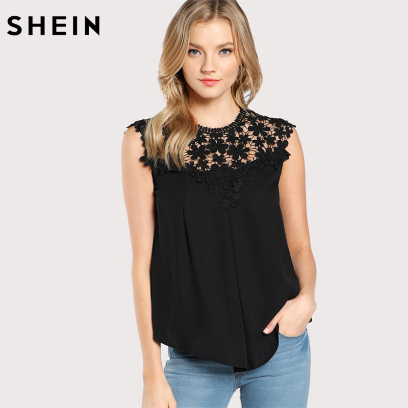 SHEIN Keyhole Back Daisy Lace Shoulder Shell Top Summer Sexy Womens Tops and Blouses Black Sleeveless Elegant Blouse