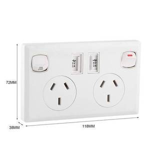 Image 2 - Double USB 2 Switch Electrical Wall Socket Australian AU Plug Home Power Point Supply Plate Home Improvement Tools