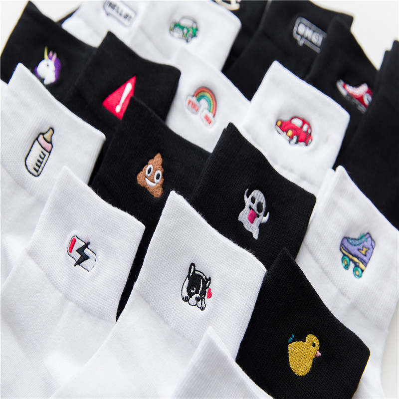 Car rainbow duckling Cotton Embroidery Cartoon Black School Wind funny cute   Socks   women Winter harajuku hip hop kawaii