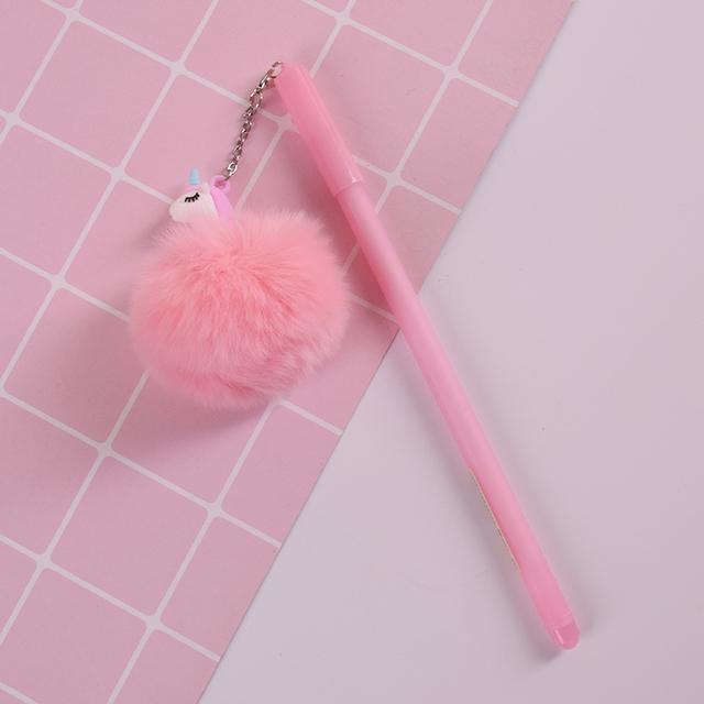 Fur Pompom Unicorn Design Gel Ink Pen