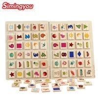 Simingyou 나무 장난감 동물 디지털 퍼즐 오른쪽 뇌 메모리 게임 몬테소리 교육 장난감 C20-A-186 드롭 배송