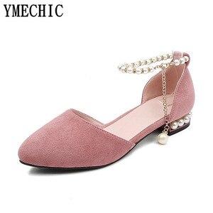 Image 4 - Ymechic sapatos femininos de salto baixo, calçados para moças, branco, rosa, de noiva, com cordão, para mulheres, casual, verão 2018 tamanho do tamanho