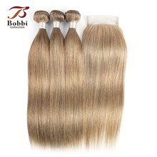 Bobbi Collection 2/3 Bundles with Lace Closure Color 8 Blonde Indian Straight Hair Weave Bundles Remy Human Hair