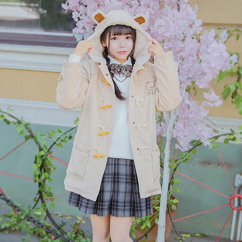 Winter Women Hooded Wool Coat With Velvet Sweet Bear Embroidery Horn Button Slim Woolen Blend Pocket