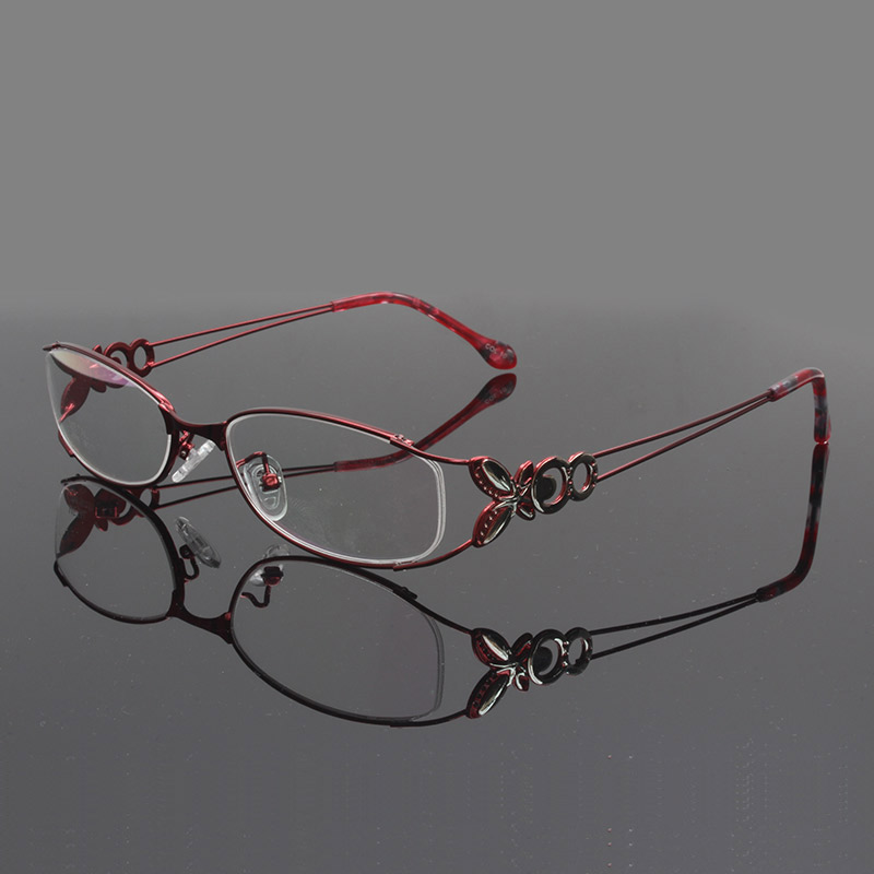 Women Metal Eyeglasses Frame with Butterfly Decoration Optical Glasses Frame Prescription Eyewear Spectacles Optical in Women 39 s Eyewear Frames from Apparel Accessories
