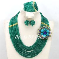 Amazing New Chocker Necklace Crystal Jewelry Set African Beaded Party Women Fashion Jewelry Set NEW Free Shipping ABY408