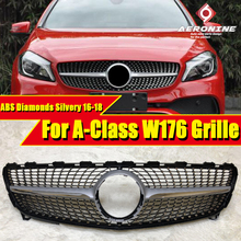 W176 Sports Grille Grill Diamonds ABS Silver A-Class A180 A200 A250 A45 look Front Bumper Kidney Grills Without Sign 2016-2018