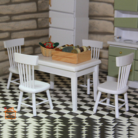 Dining Room Set Wooden Chair Desk dollhouse furniture 1/12 scale 5pc/set #KT02