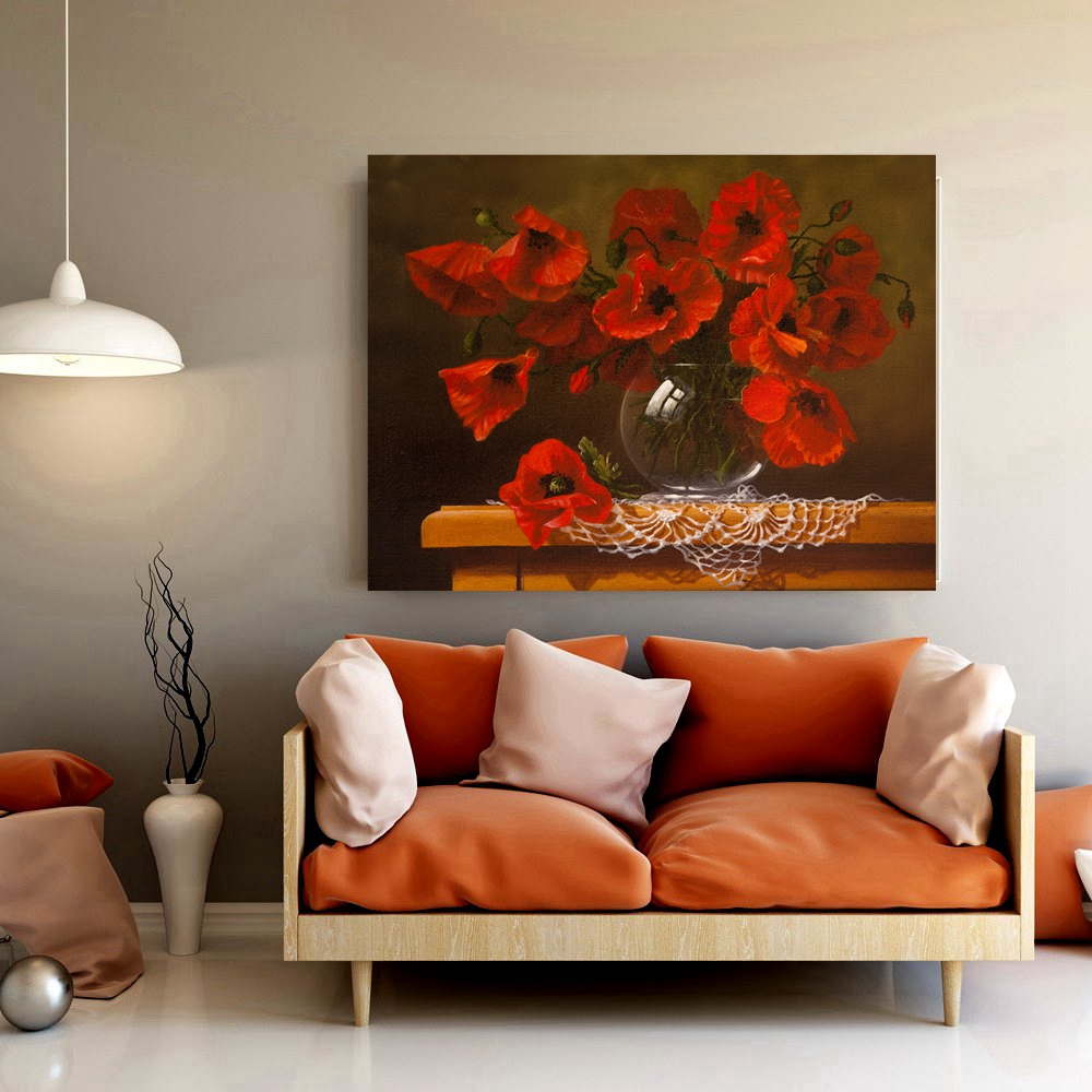 Red Flower Bonsai Still Life Painting