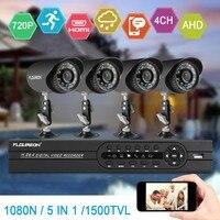 FLOUREON AHD 4CH CCTV 1080N HDMI DVR 1.0MP 1500TVL Outdoor Weatherproof CCTV Camera set Home Security System Surveillance Kit