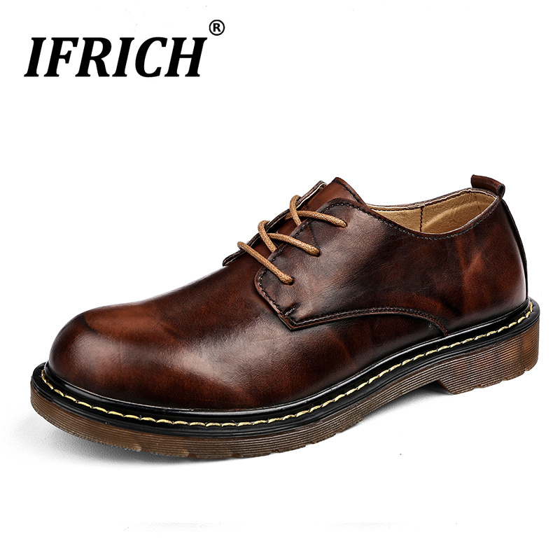2019 Hot Men Shoes Leather Luxury Brand Casual Shoes Men Designer Working Shoes for Men Rubber Sole Youth Fashion Walking Shoes