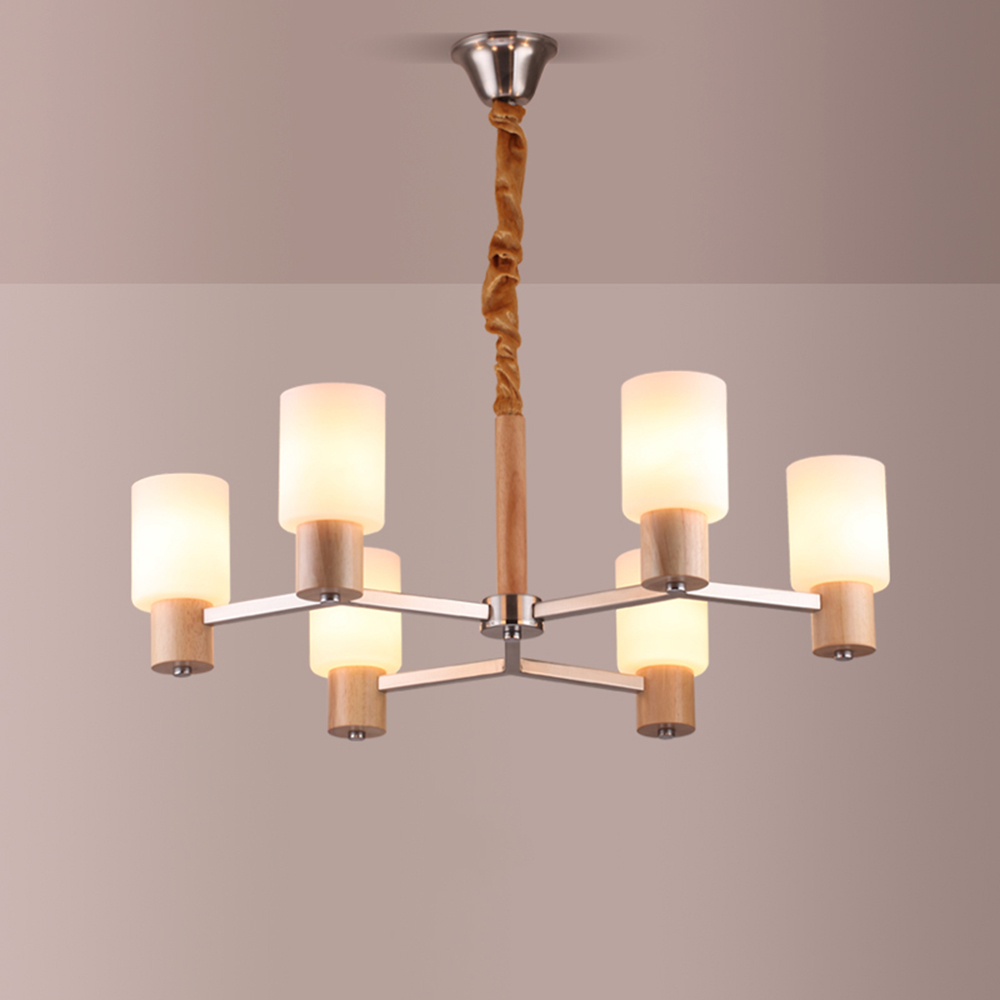Wood Chandeliers For Dining Room: LED Wooden Chandelier Lighting E14 Light Fixtures For