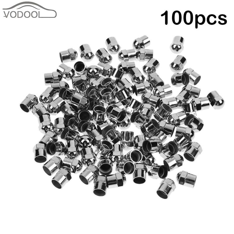 100Pcs Chrome Plated Plastic Car Wheel Tire Valve Stem Cap Covers Motorcycle Round Head Tyre Air Pressure Cap for Schrader Valve 30mm installation size plastic demounting head with metal flange tyre changer accessory tyre changer tool head