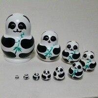 Cinco panda que se aninham dentro de uns aos outros de nidificação de madeira gatos maravilhoso mão-pintada colecionáveis basswood