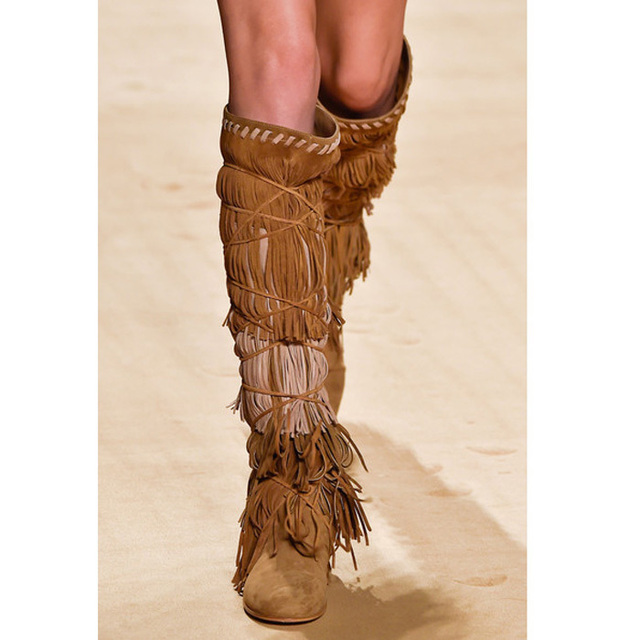 Aliexpress.com : Buy women suede knee high fringe boots street ...