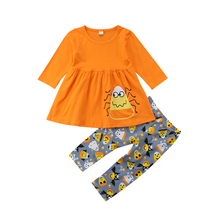 Toddler Kids Baby Girl Outfit Clothes Long Sleeve Tops Dress Halloween Cartoon Costumes Pants Set 2019
