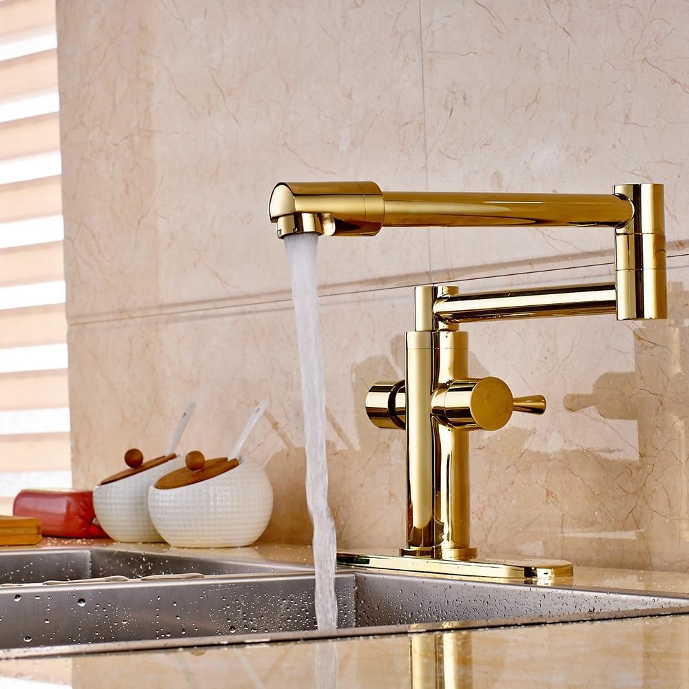 Golden Brass Swivel Spout Bathroom Kitchen Faucet Vessel Mixer Tap W/ Sink Plate luxury solid brass kitchen faucet dual spouts vessel sink mixer tap w 8 plate