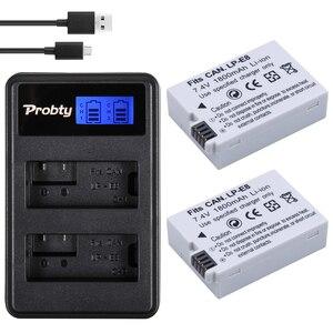 Image 1 - 2Pcs 1800mAh LP E8 LPE8 LP E8 Camera Battery Bateria Batterie AKKU + LCD USB Dual Charger For Canon EOS 550D 600D 650D 700D