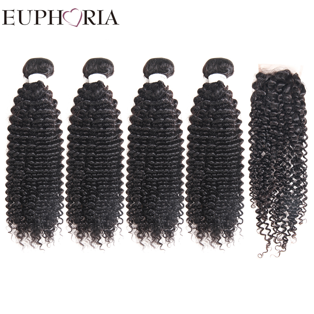 EUPHORIA Peruvian 4 Bundles Human Hair Weaves With Lace Closure 4x4 Natural Color Salon Remy Human Hair Bundle Deals 5pcs/lot