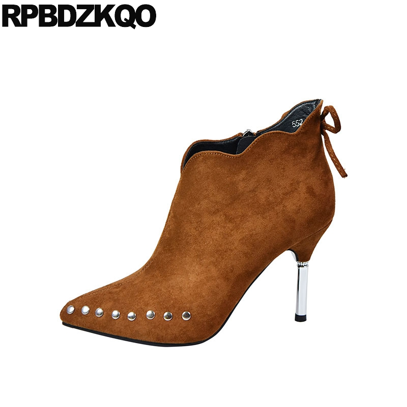 Bow Designer 2018 Metal Heel Boots Sexy Pointed Toe Brown High Stiletto Fall Short Women Big Brand Shoes Suede Booties Ankle
