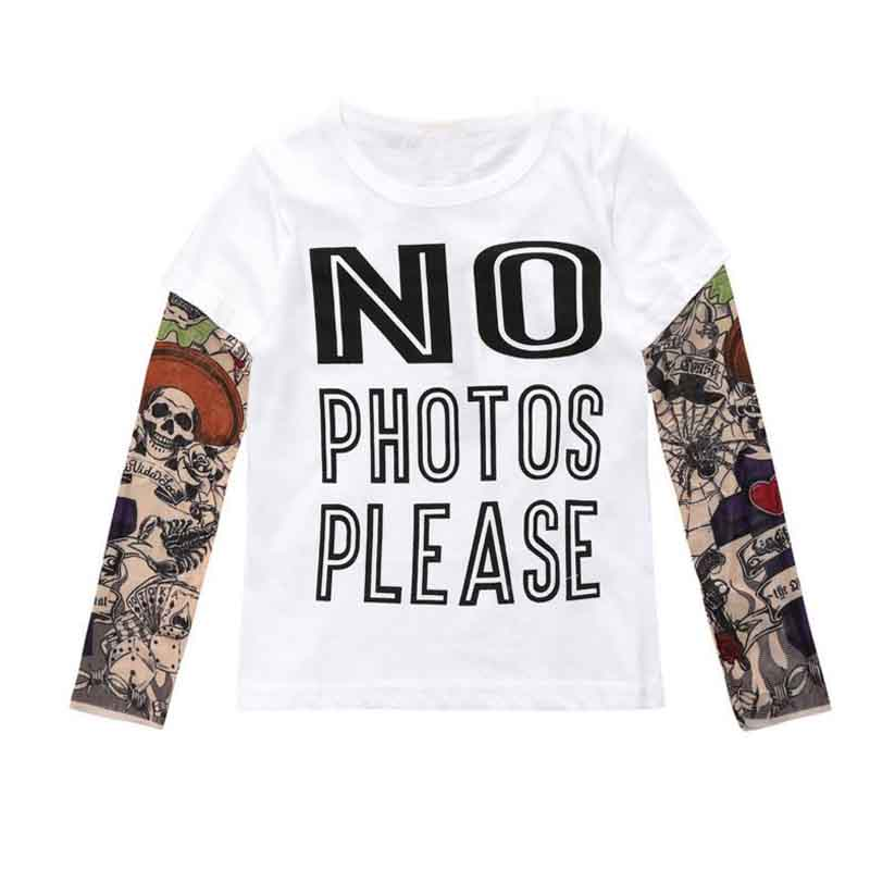 Summer t-shirt cotton boys clothes casual baby children clothing tattoo print long sleeve t shirts toddler kids top tees 1-5year цена