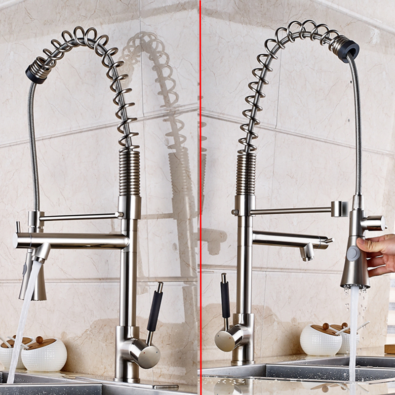 Tall Nickel Brushed Kitchen Faucet Dual Spouts Sprayer Vessel Sink Mixer Tap NEW luxury solid brass kitchen faucet dual spouts vessel sink mixer tap w 8 plate