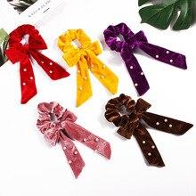 JZJR Free Shipping Women Velvet Pearl Ribbon Hair Bands DIY Knot Bow Scrunchies girls hair Tie Accessories Boho Headband