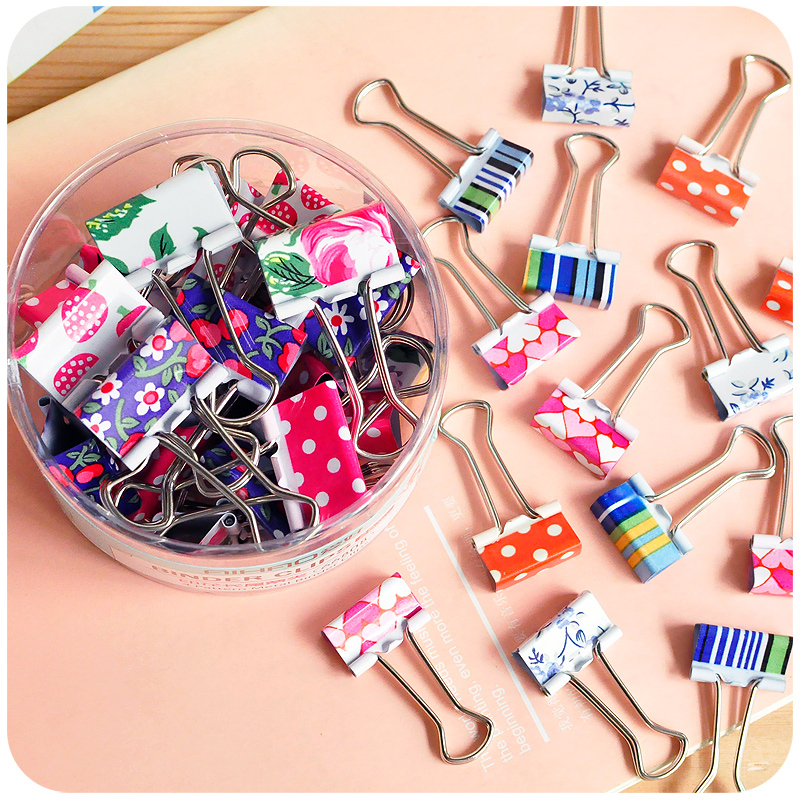 6 Pcs Small Size 38mm Printed Metal Binder Clips Paper Clip Clamp Office School Binding Supplies Color Random Color