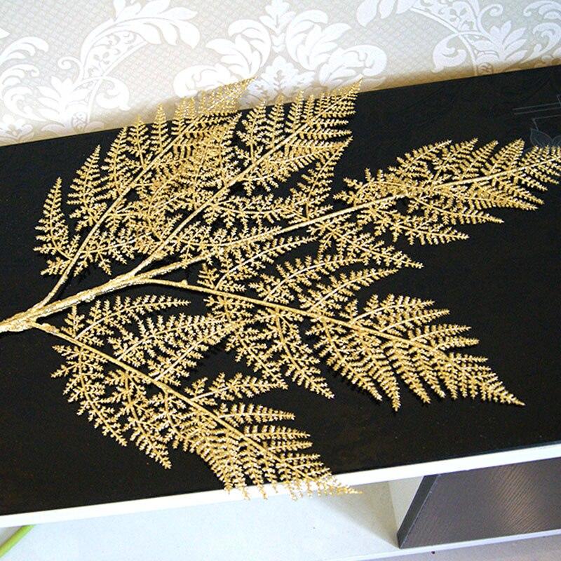 Simulation Gold Leaf Maple High imitation Artificial Leaf Artificial Flower Decorative Silk Foliage Leaf Plastic DIY 1pcs
